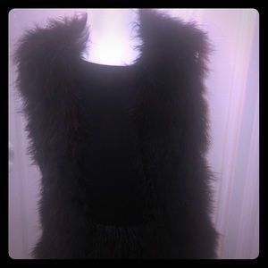 Club Monaco Black rabbit fur vest